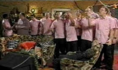 The Pink Singers on the set of 'Gimme Gimme Gimme', 2000