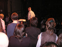 Rehearsing onstage in Paris