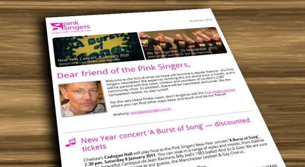Subscribe to the Pink Singers newsletter