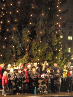 Pinkies carolling in Trafalgar Square