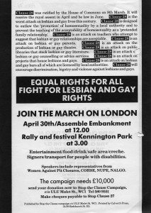 Poster for the march on London against Section 28