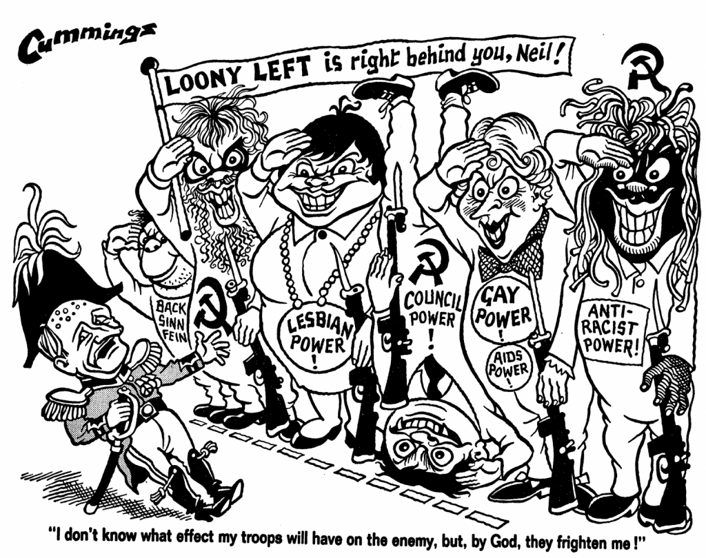 A cartoon shows lots of minority figures grotesquely caricatured.
