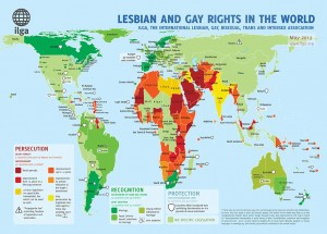 Map showing the state of civil rights worldwide