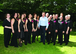 Pink Singers with the Prime Minister in the garden of 10 Downing Street