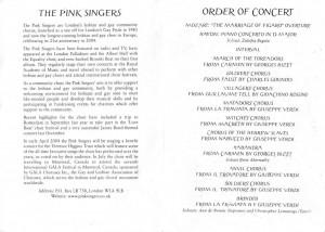Pink Singers Opera Concert programme