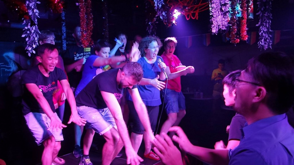 Sharing the moves at Funky nightclub
