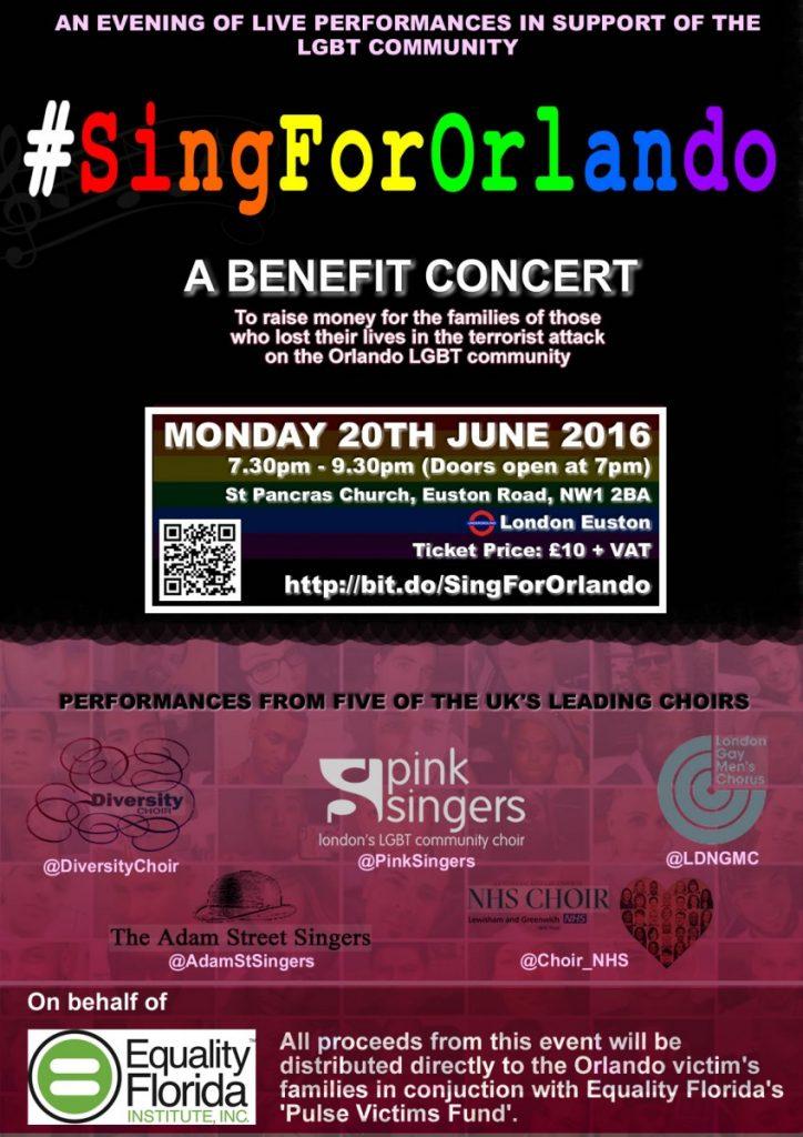 #SingForOrlando - A Benefit Concert (Flyer)